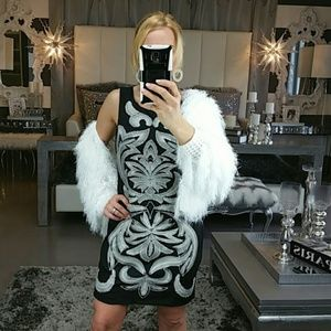 DRESS BLACK WHITE 'ESTELLA' EMBROIDED DRESS